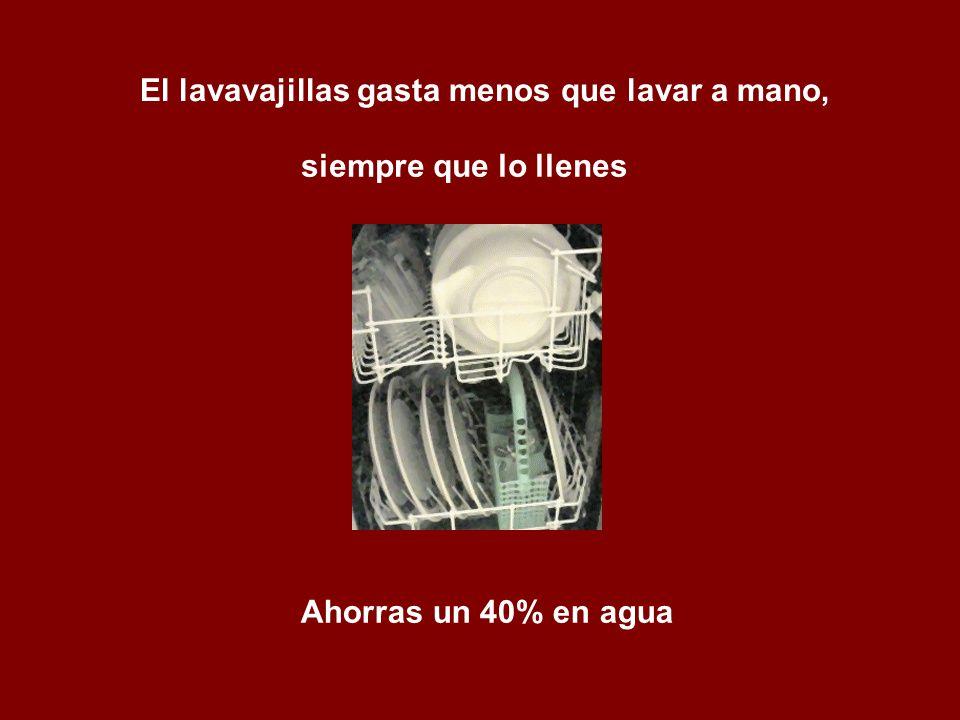 El lavavajillas gasta menos que lavar a mano, siempre que lo llenes Ahorras un 40% en agua