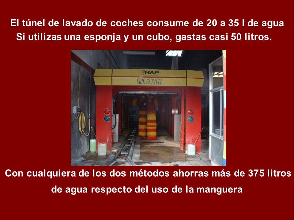 El túnel de lavado de coches consume de 20 a 35 l de agua de agua respecto del uso de la manguera Con cualquiera de los dos métodos ahorras más de 375