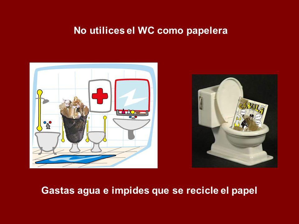 No utilices el WC como papelera Gastas agua e impides que se recicle el papel