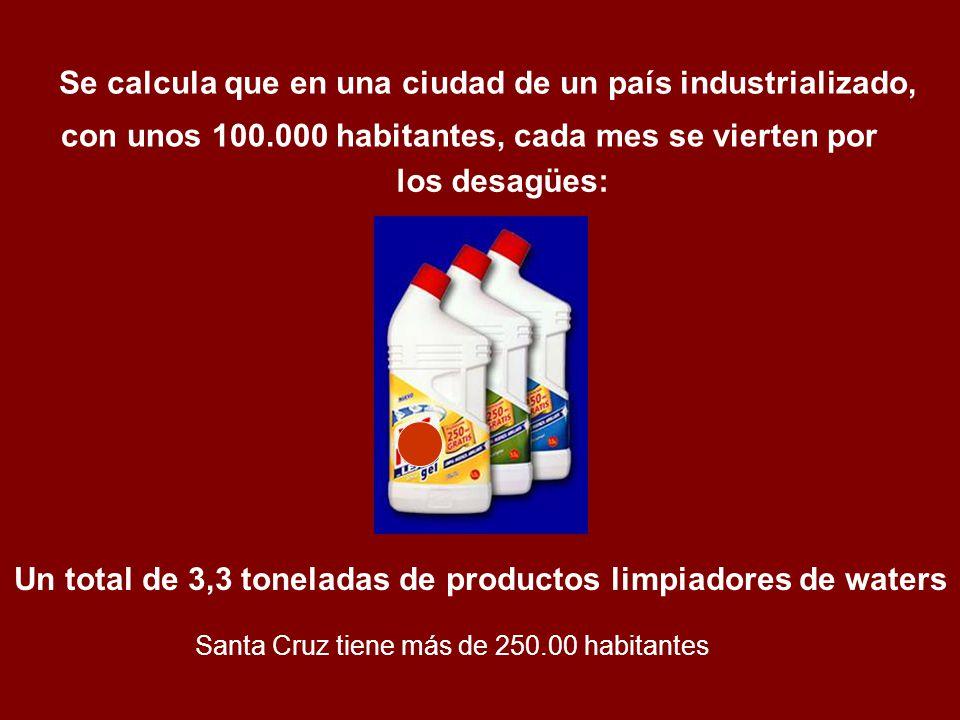 los desagües: Un total de 3,3 toneladas de productos limpiadores de waters Se calcula que en una ciudad de un país industrializado, con unos 100.000 h