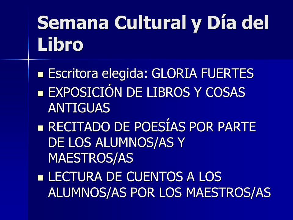 Semana Cultural y Día del Libro Escritora elegida: GLORIA FUERTES Escritora elegida: GLORIA FUERTES EXPOSICIÓN DE LIBROS Y COSAS ANTIGUAS EXPOSICIÓN D