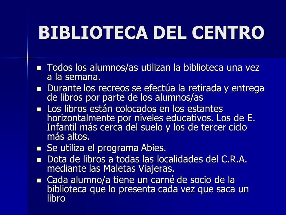 BIBLIOTECA DEL CENTRO Todos los alumnos/as utilizan la biblioteca una vez a la semana. Todos los alumnos/as utilizan la biblioteca una vez a la semana