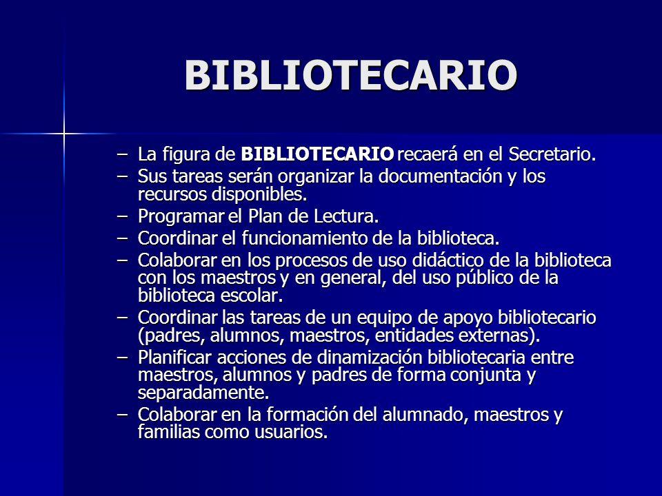BIBLIOTECARIO –La figura de BIBLIOTECARIO recaerá en el Secretario. –Sus tareas serán organizar la documentación y los recursos disponibles. –Programa