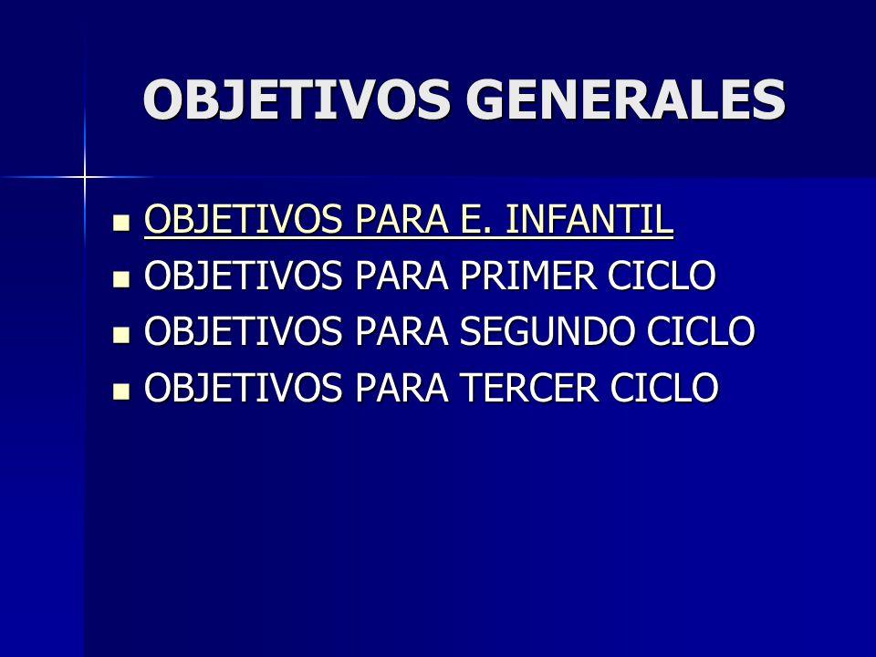OBJETIVOS GENERALES OBJETIVOS PARA E. INFANTIL OBJETIVOS PARA E. INFANTIL OBJETIVOS PARA E. INFANTIL OBJETIVOS PARA E. INFANTIL OBJETIVOS PARA PRIMER