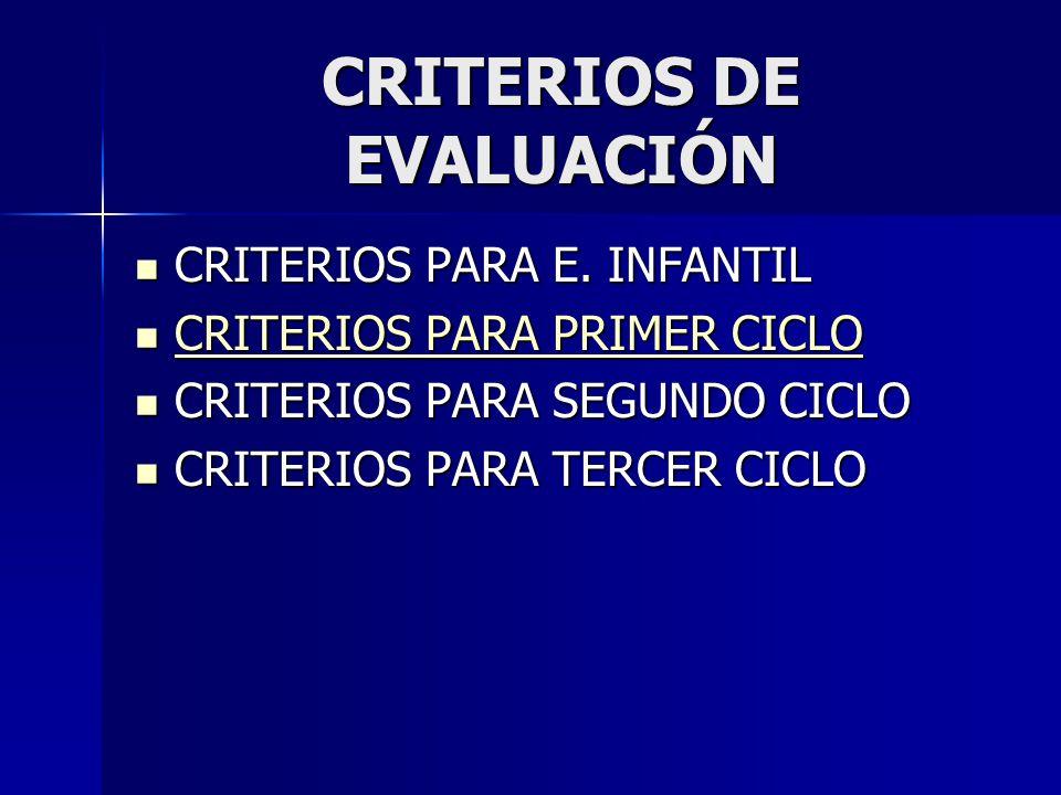 CRITERIOS DE EVALUACIÓN CRITERIOS PARA E. INFANTIL CRITERIOS PARA E. INFANTIL CRITERIOS PARA PRIMER CICLO CRITERIOS PARA PRIMER CICLO CRITERIOS PARA P