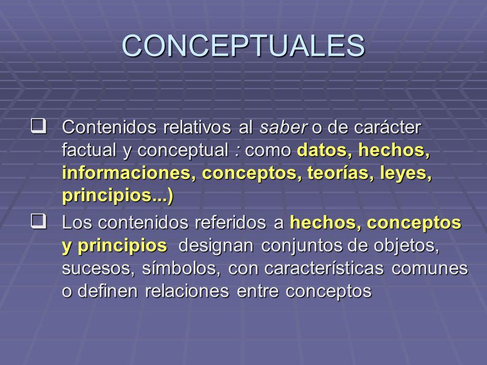 CONCEPTUALES Contenidos relativos al saber o de carácter factual y conceptual : como datos, hechos, informaciones, conceptos, teorías, leyes, principi