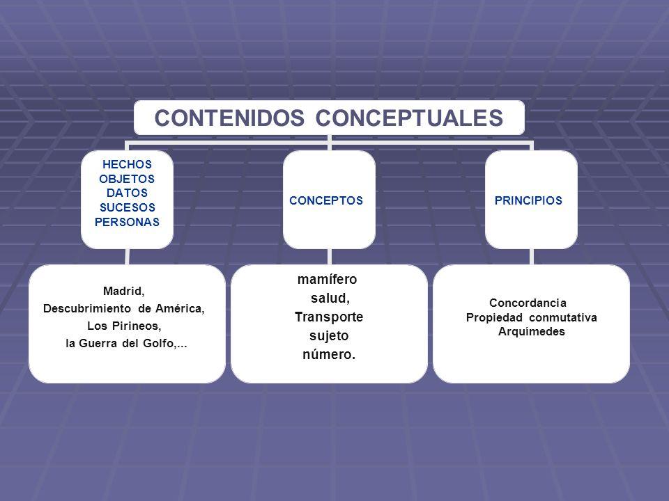 CONTENIDOS CONCEPTUALES HECHOS OBJETOS DATOS SUCESOS PERSONAS Madrid, Descubrimiento de América, Los Pirineos, la Guerra del Golfo,... CONCEPTOS mamíf
