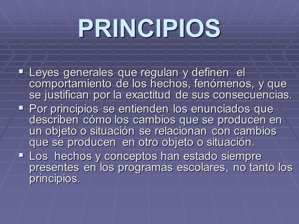 PRINCIPIOS Leyes generales que regulan y definen el comportamiento de los hechos, fenómenos, y que se justifican por la exactitud de sus consecuencias
