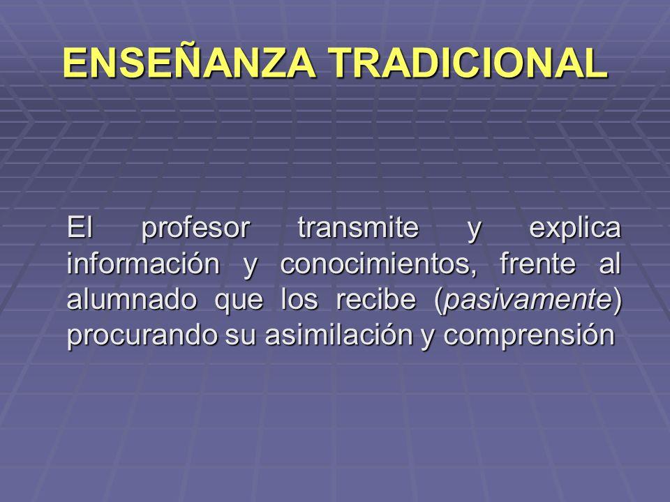 ENSEÑANZA TRADICIONAL El profesor transmite y explica información y conocimientos, frente al alumnado que los recibe (pasivamente) procurando su asimi