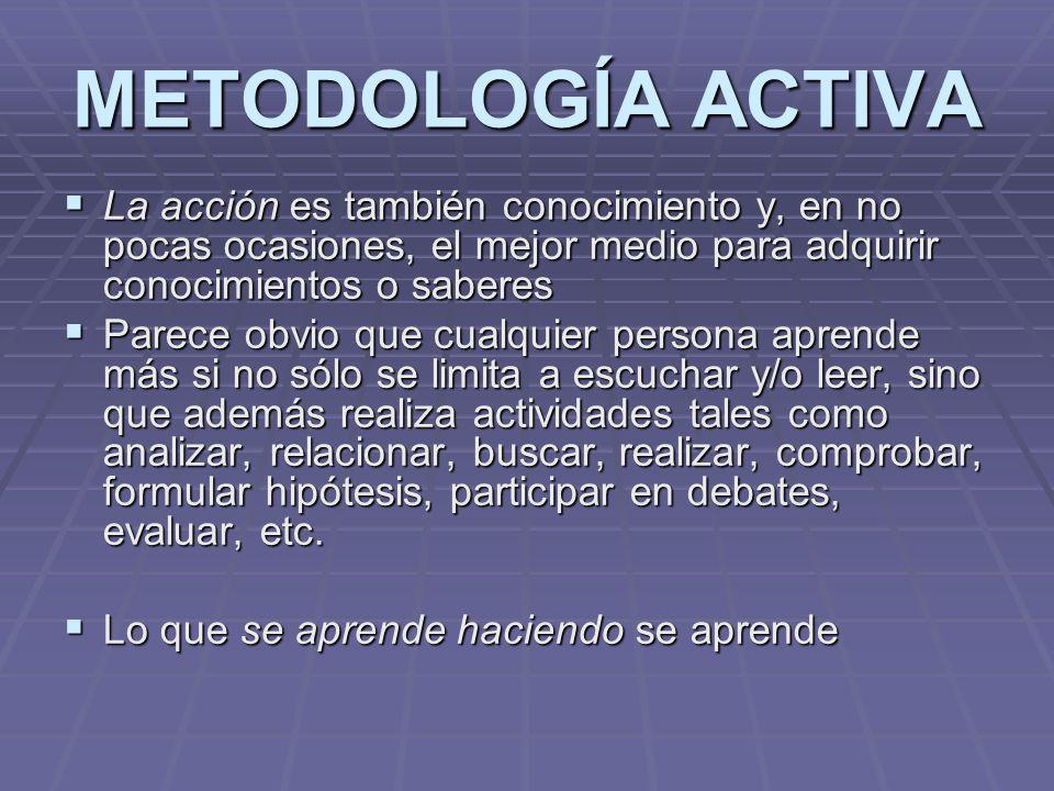 METODOLOGÍA ACTIVA La acción es también conocimiento y, en no pocas ocasiones, el mejor medio para adquirir conocimientos o saberes La acción es tambi