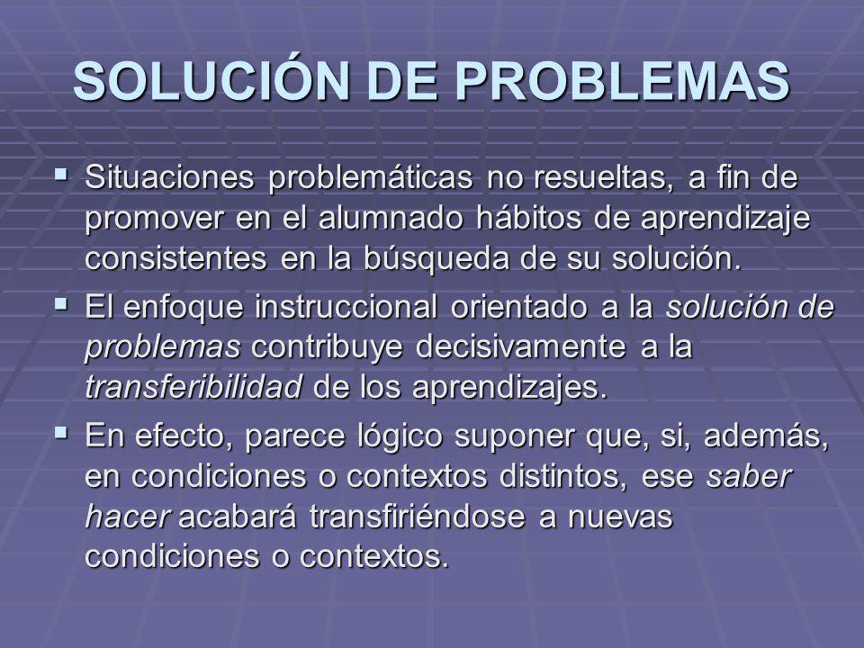SOLUCIÓN DE PROBLEMAS Situaciones problemáticas no resueltas, a fin de promover en el alumnado hábitos de aprendizaje consistentes en la búsqueda de s