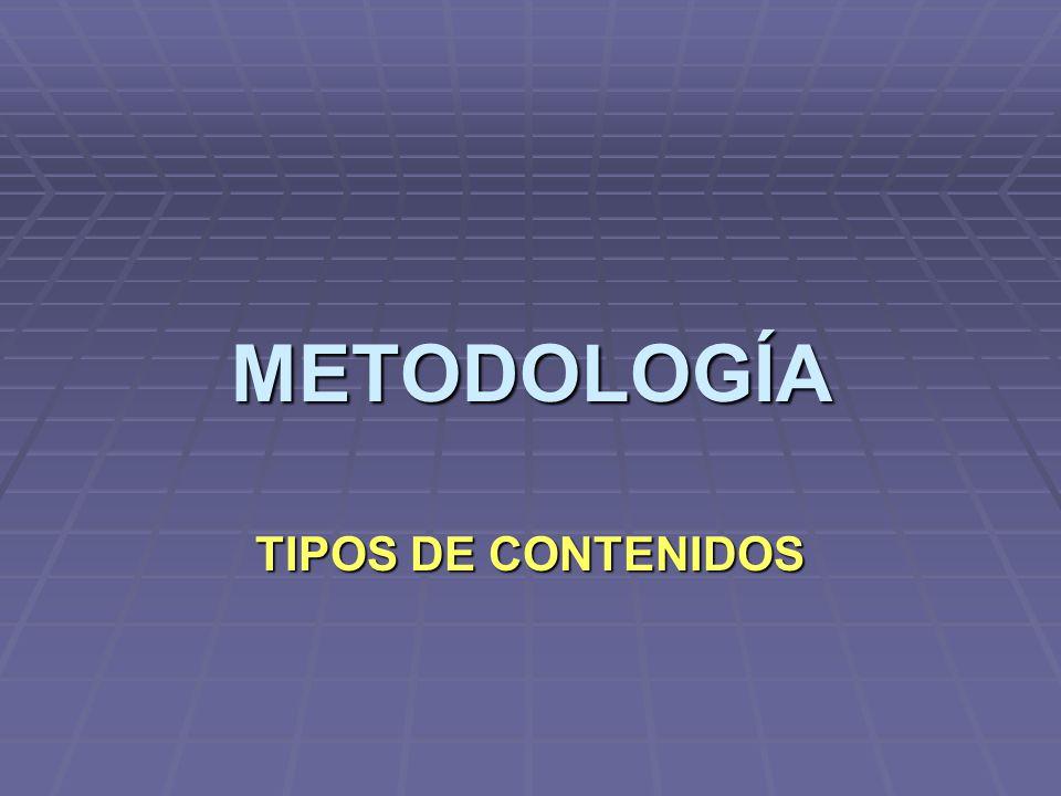 METODOLOGÍA TIPOS DE CONTENIDOS