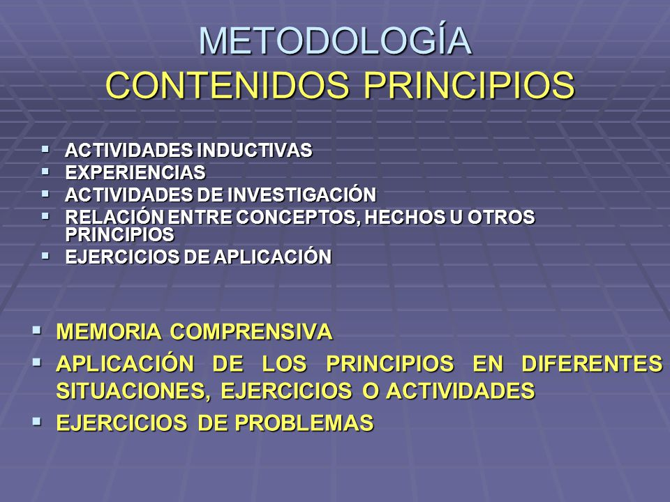 METODOLOGÍA CONTENIDOS PRINCIPIOS ACTIVIDADES INDUCTIVAS ACTIVIDADES INDUCTIVAS EXPERIENCIAS EXPERIENCIAS ACTIVIDADES DE INVESTIGACIÓN ACTIVIDADES DE