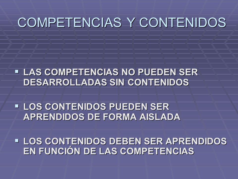 COMPETENCIAS Y CONTENIDOS LAS COMPETENCIAS NO PUEDEN SER DESARROLLADAS SIN CONTENIDOS LAS COMPETENCIAS NO PUEDEN SER DESARROLLADAS SIN CONTENIDOS LOS