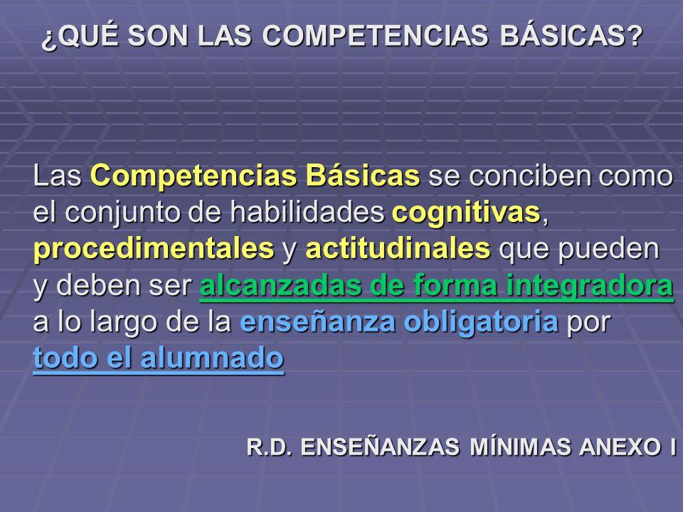 ¿QUÉ SON LAS COMPETENCIAS BÁSICAS? Las Competencias Básicas se conciben como el conjunto de habilidades cognitivas, procedimentales y actitudinales qu