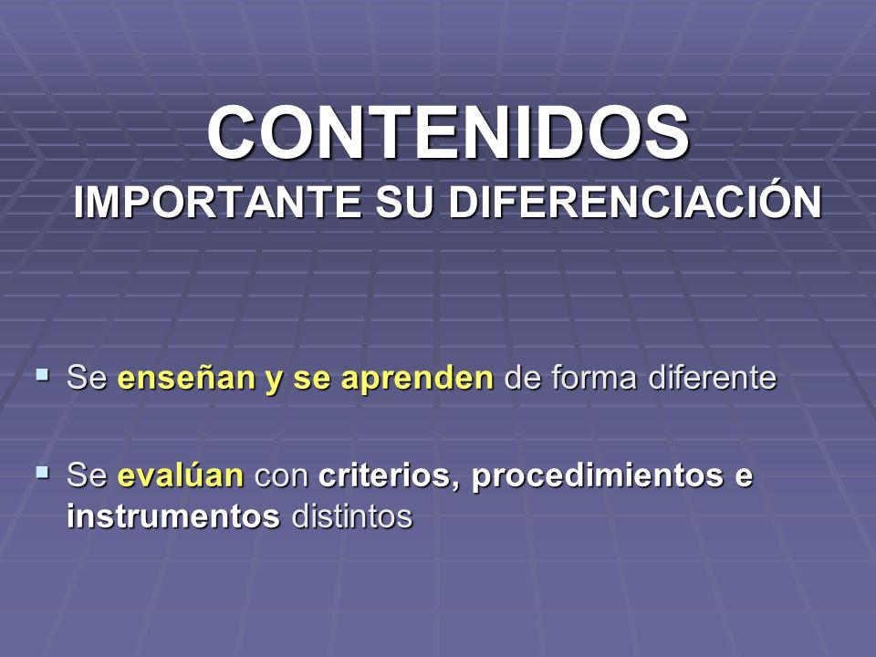 CONTENIDOS IMPORTANTE SU DIFERENCIACIÓN Se enseñan y se aprenden de forma diferente Se enseñan y se aprenden de forma diferente Se evalúan con criteri