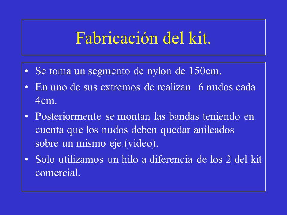 Fabricación del kit. Se toma un segmento de nylon de 150cm. En uno de sus extremos de realizan 6 nudos cada 4cm. Posteriormente se montan las bandas t