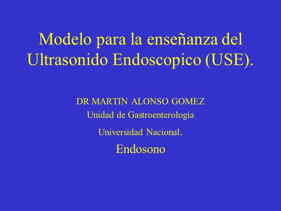 Modelo para la enseñanza del Ultrasonido Endoscopico (USE). DR MARTIN ALONSO GOMEZ Unidad de Gastroenterología Universidad Nacional. Endosono