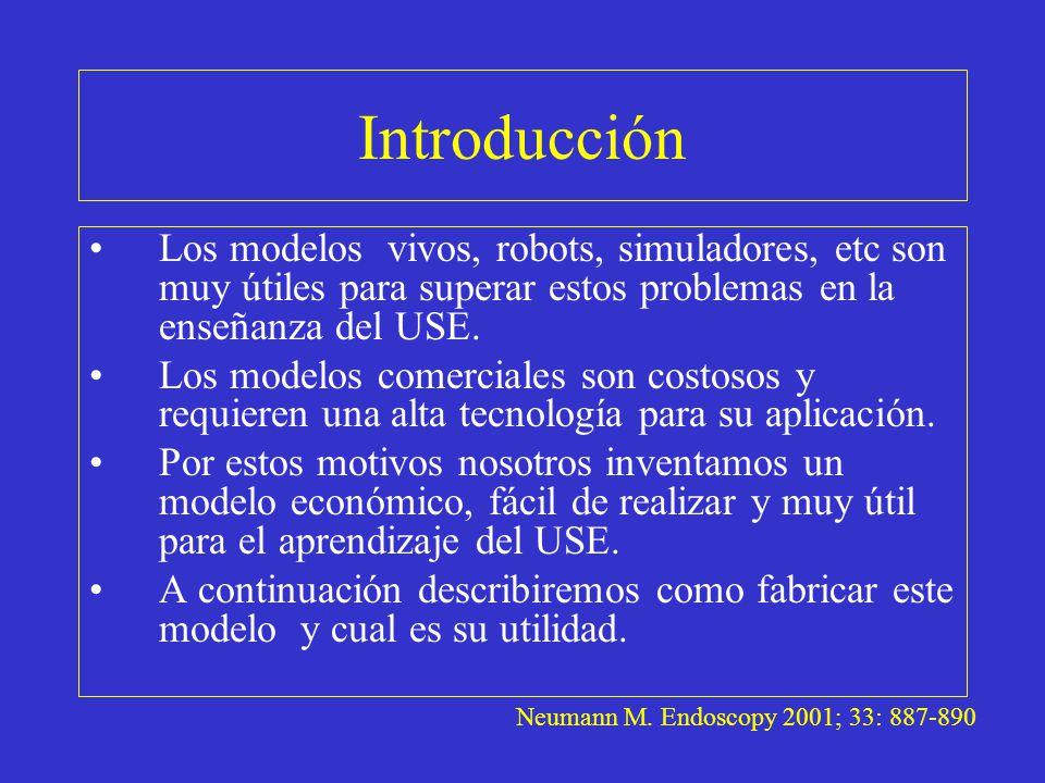 Introducción Los modelos vivos, robots, simuladores, etc son muy útiles para superar estos problemas en la enseñanza del USE. Los modelos comerciales