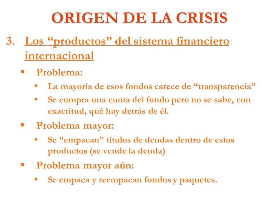 ORIGEN DE LA CRISIS 3. 3.Los productos del sistema financiero internacional Problema: La mayoría de esos fondos carece de transparencia Se compra una