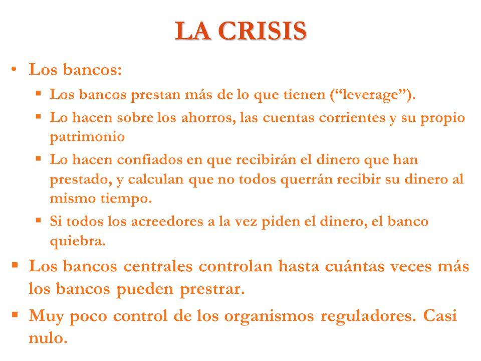 LA CRISIS Los bancos: Los bancos prestan más de lo que tienen (leverage). Lo hacen sobre los ahorros, las cuentas corrientes y su propio patrimonio Lo