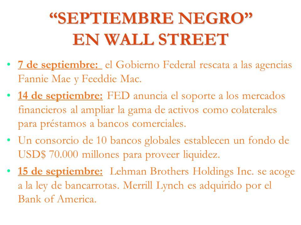 SEPTIEMBRE NEGRO EN WALL STREET 7 de septiembre: el Gobierno Federal rescata a las agencias Fannie Mae y Feeddie Mac. 14 de septiembre: FED anuncia el