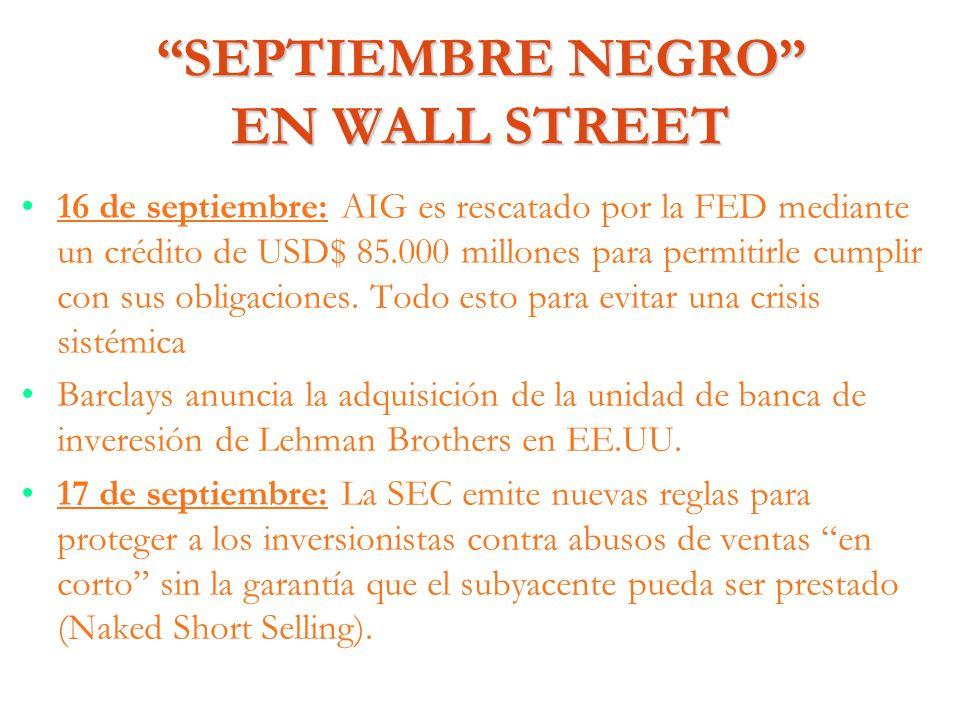 SEPTIEMBRE NEGRO EN WALL STREET 16 de septiembre: AIG es rescatado por la FED mediante un crédito de USD$ 85.000 millones para permitirle cumplir con