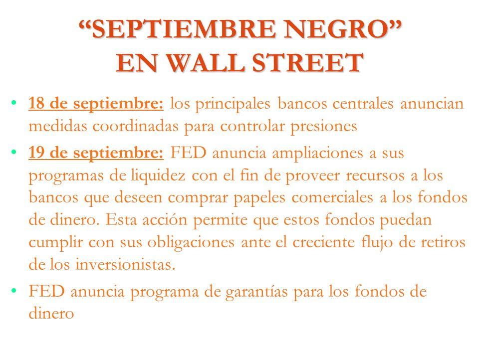 SEPTIEMBRE NEGRO EN WALL STREET 18 de septiembre: los principales bancos centrales anuncian medidas coordinadas para controlar presiones 19 de septiem