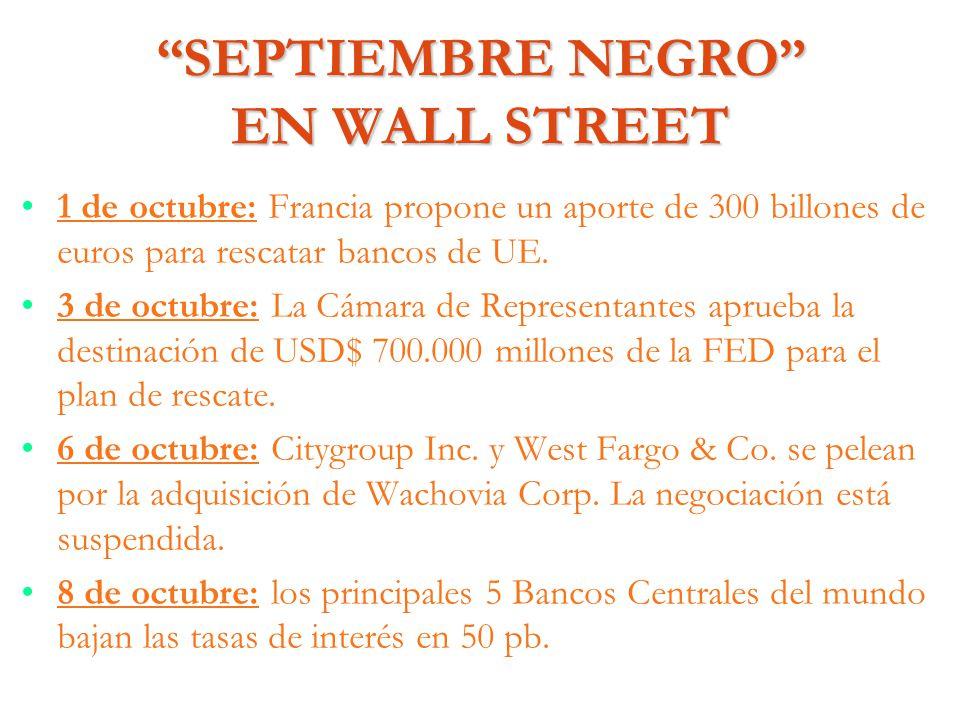 SEPTIEMBRE NEGRO EN WALL STREET 1 de octubre: Francia propone un aporte de 300 billones de euros para rescatar bancos de UE. 3 de octubre: La Cámara d