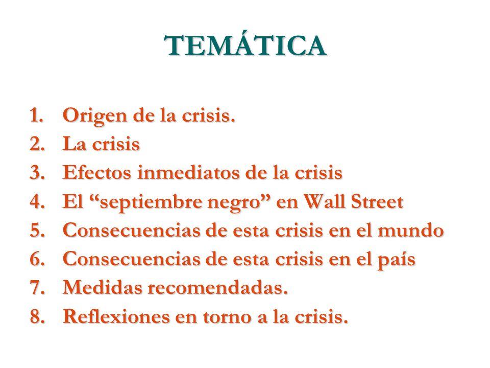 TEMÁTICA 1.Origen de la crisis. 2.La crisis 3.Efectos inmediatos de la crisis 4.El septiembre negro en Wall Street 5.Consecuencias de esta crisis en e