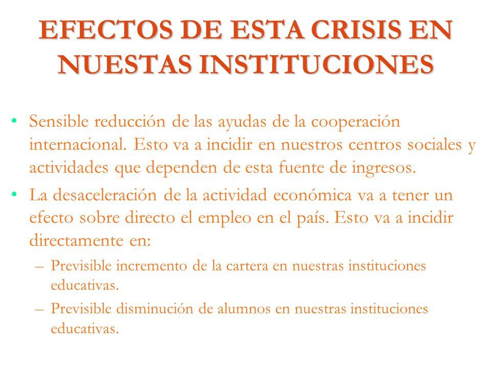 EFECTOS DE ESTA CRISIS EN NUESTAS INSTITUCIONES Sensible reducción de las ayudas de la cooperación internacional. Esto va a incidir en nuestros centro