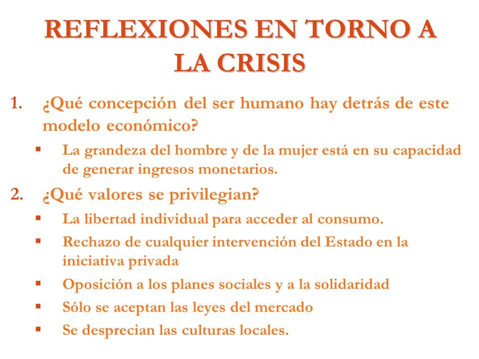 REFLEXIONES EN TORNO A LA CRISIS 1. 1.¿Qué concepción del ser humano hay detrás de este modelo económico? La grandeza del hombre y de la mujer está en