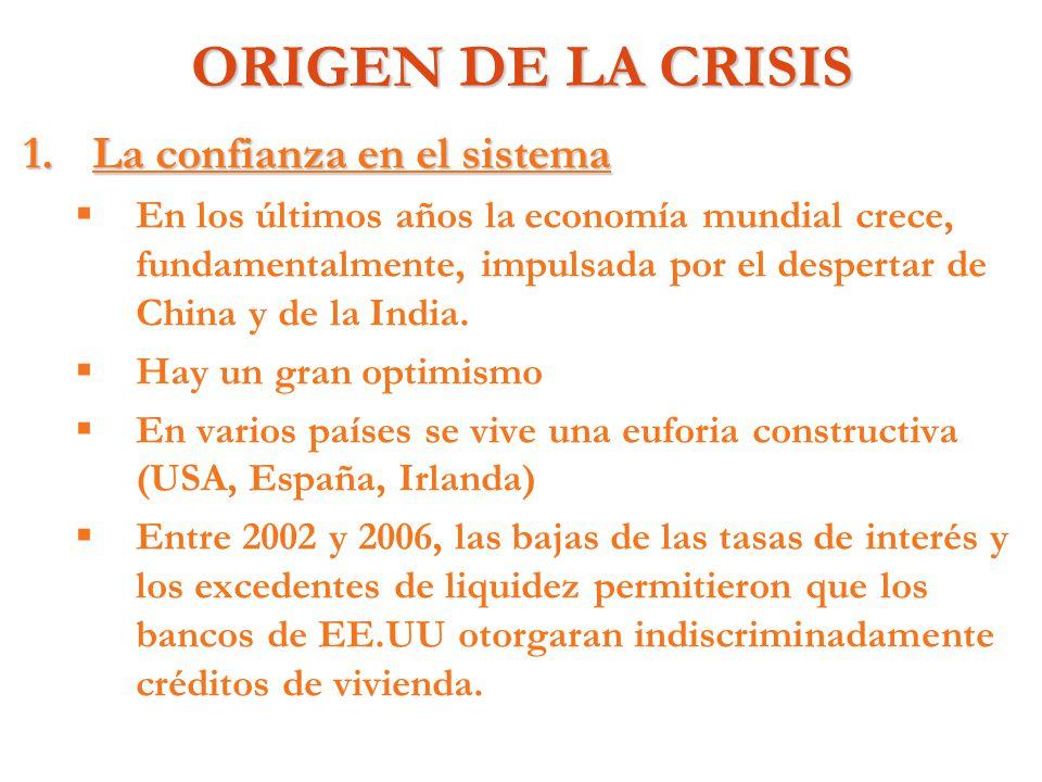 ORIGEN DE LA CRISIS 1.La confianza en el sistema En los últimos años la economía mundial crece, fundamentalmente, impulsada por el despertar de China