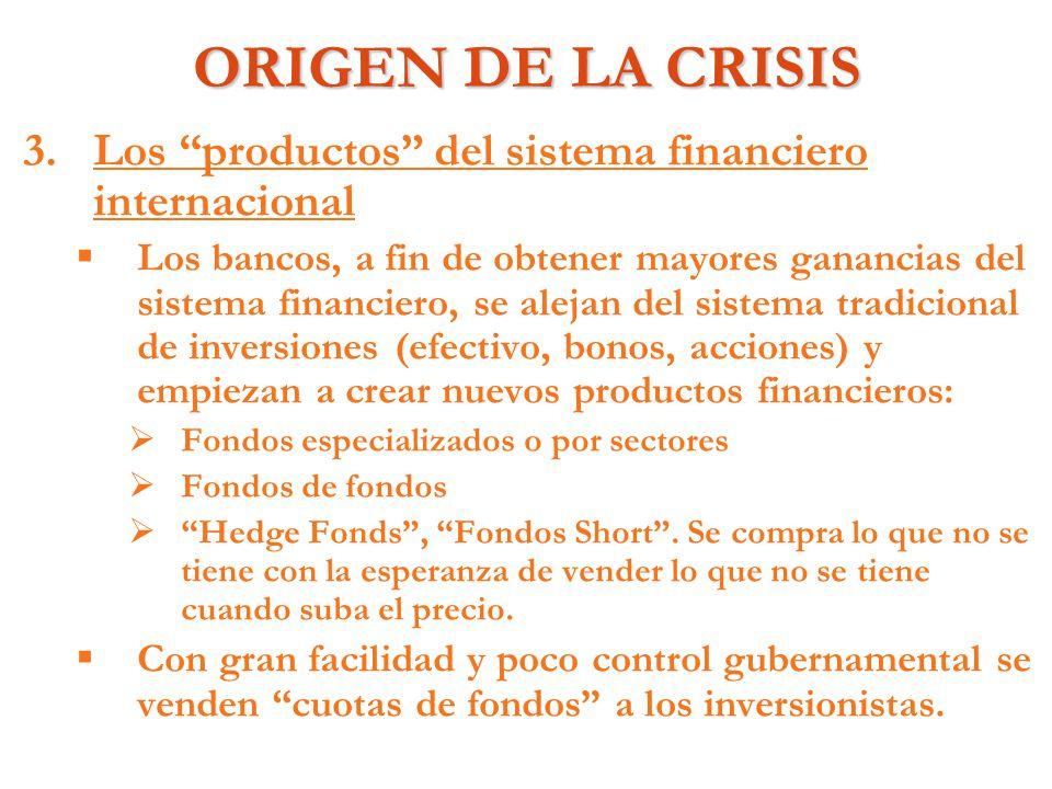 ORIGEN DE LA CRISIS 3. 3.Los productos del sistema financiero internacional Los bancos, a fin de obtener mayores ganancias del sistema financiero, se