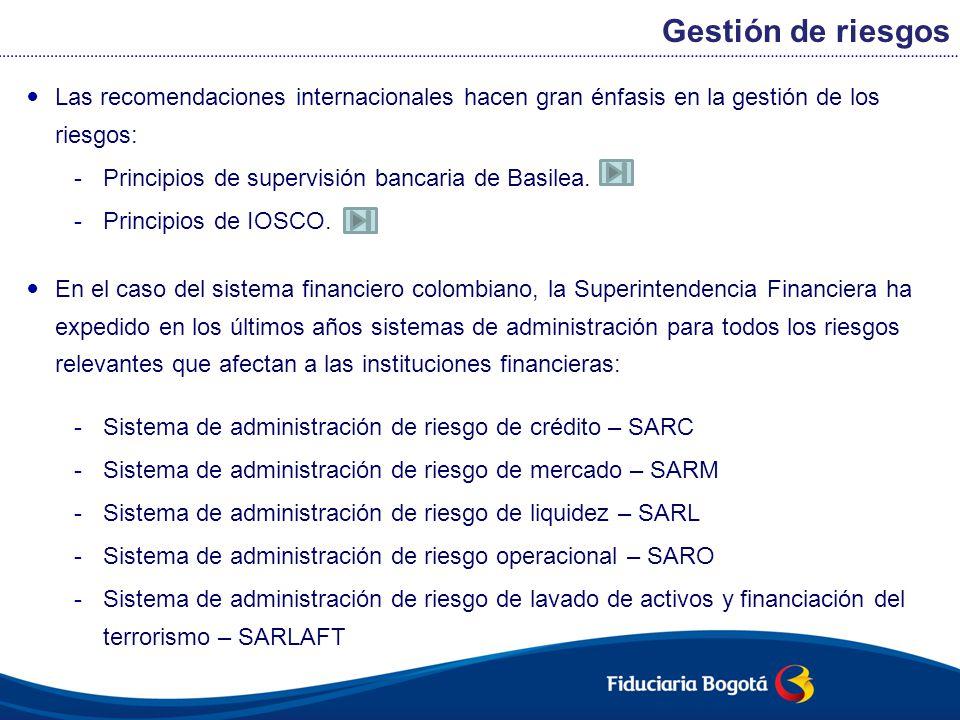 Las recomendaciones internacionales hacen gran énfasis en la gestión de los riesgos: -Principios de supervisión bancaria de Basilea. -Principios de IO