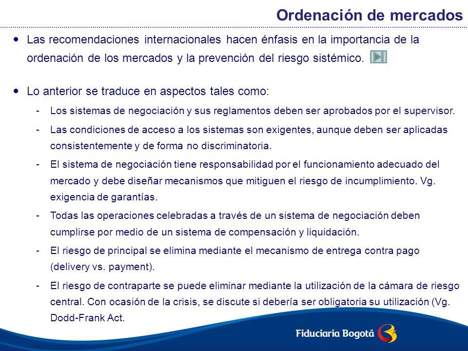 Las recomendaciones internacionales hacen énfasis en la importancia de la ordenación de los mercados y la prevención del riesgo sistémico. Lo anterior