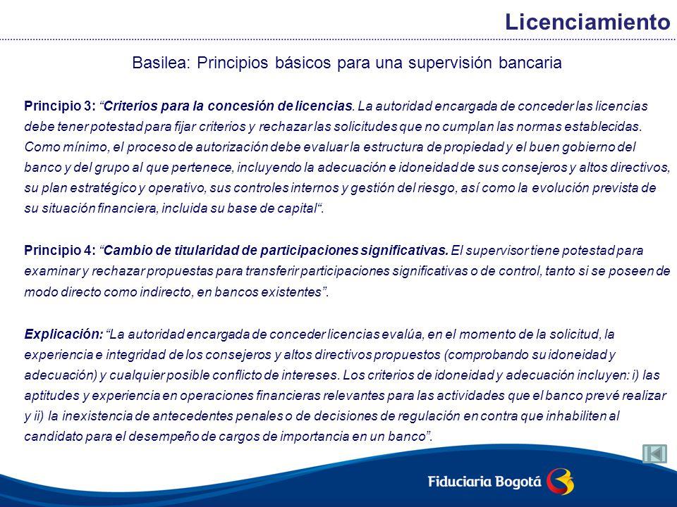 Basilea: Principios básicos para una supervisión bancaria Principio 3: Criterios para la concesión de licencias. La autoridad encargada de conceder la