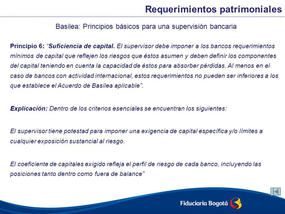 Basilea: Principios básicos para una supervisión bancaria Principio 6: Suficiencia de capital. El supervisor debe imponer a los bancos requerimientos