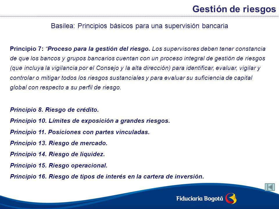 Basilea: Principios básicos para una supervisión bancaria Principio 7: Proceso para la gestión del riesgo. Los supervisores deben tener constancia de