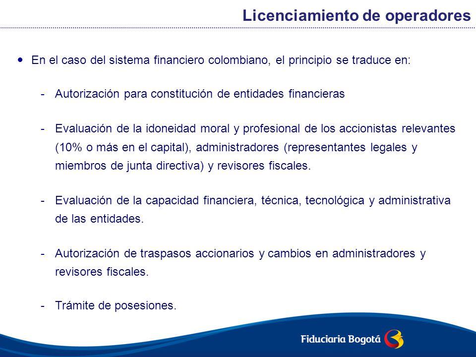 En el caso del sistema financiero colombiano, el principio se traduce en: -Autorización para constitución de entidades financieras -Evaluación de la i