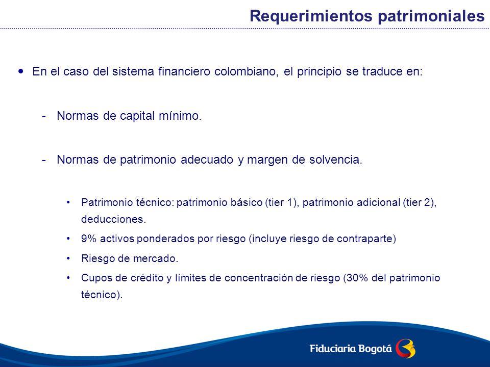 En el caso del sistema financiero colombiano, el principio se traduce en: -Normas de capital mínimo. -Normas de patrimonio adecuado y margen de solven