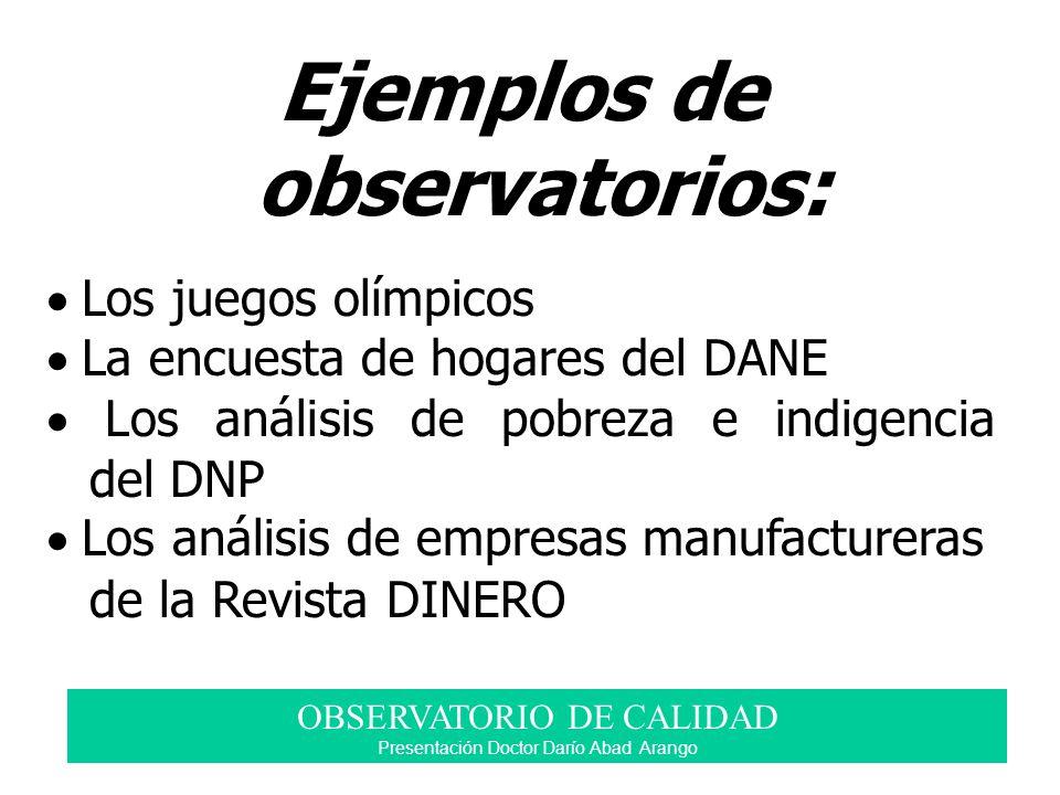 Ejemplos de observatorios: Los juegos olímpicos La encuesta de hogares del DANE Los análisis de pobreza e indigencia del DNP Los análisis de empresas