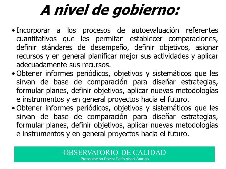 A nivel de gobierno: OBSERVATORIO DE CALIDAD Presentación Doctor Darío Abad Arango Incorporar a los procesos de autoevaluación referentes cuantitativo