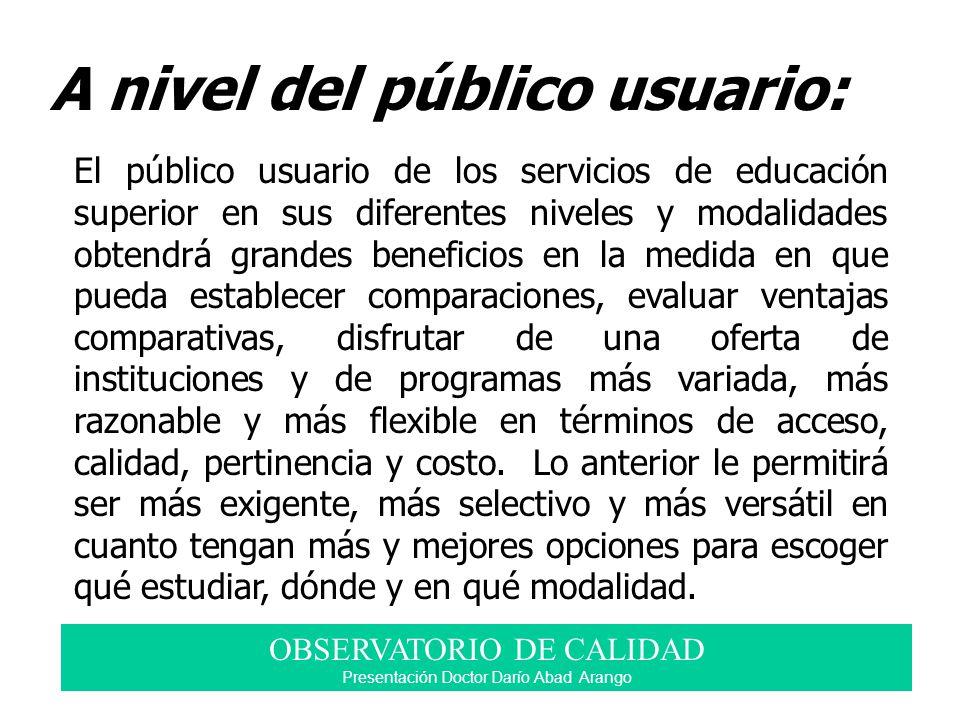 A nivel del público usuario: El público usuario de los servicios de educación superior en sus diferentes niveles y modalidades obtendrá grandes benefi