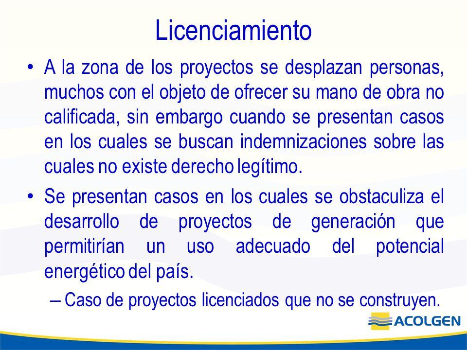 Licenciamiento A la zona de los proyectos se desplazan personas, muchos con el objeto de ofrecer su mano de obra no calificada, sin embargo cuando se presentan casos en los cuales se buscan indemnizaciones sobre las cuales no existe derecho legítimo.