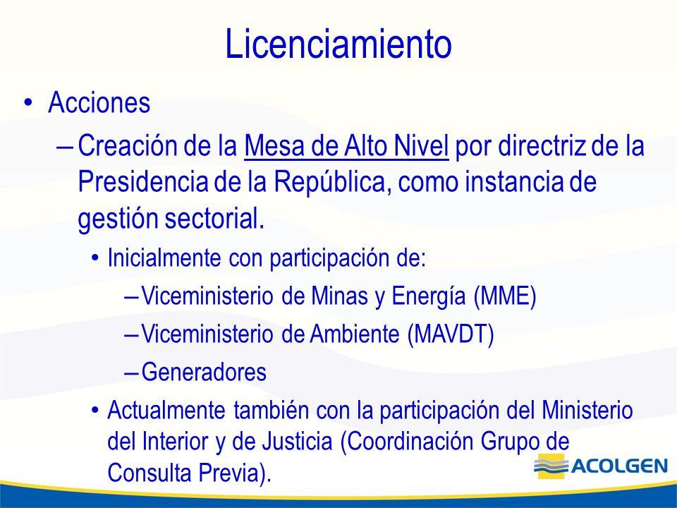 Licenciamiento Acciones – Creación de la Mesa de Alto Nivel por directriz de la Presidencia de la República, como instancia de gestión sectorial.