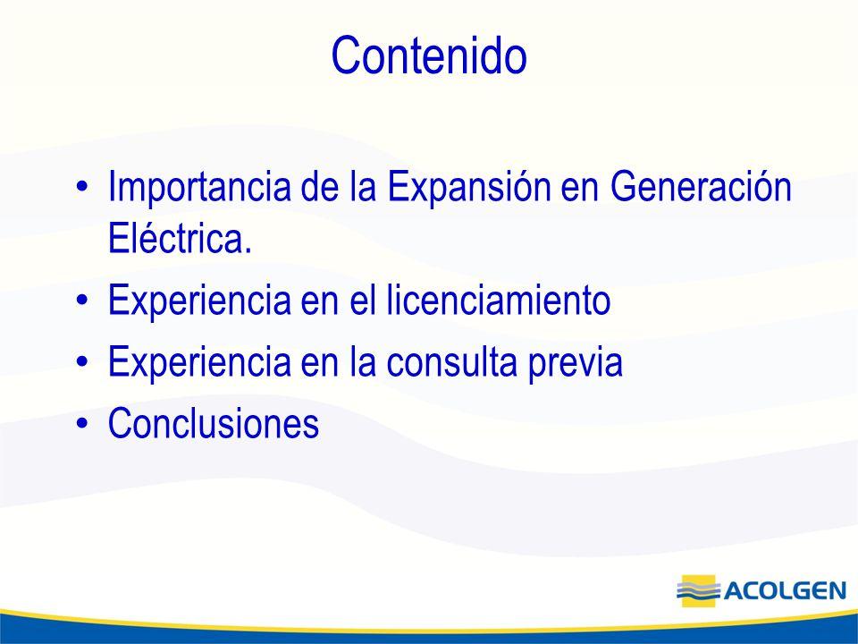 Contenido Importancia de la Expansión en Generación Eléctrica.