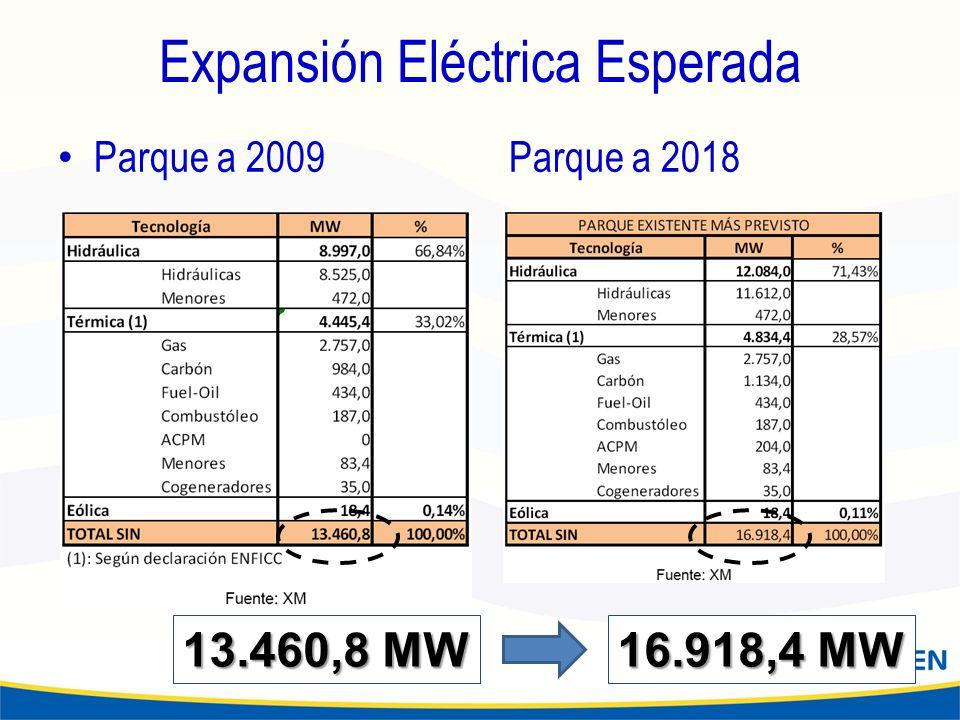 Expansión Eléctrica Esperada Parque a 2009Parque a 2018 16.918,4 MW 13.460,8 MW