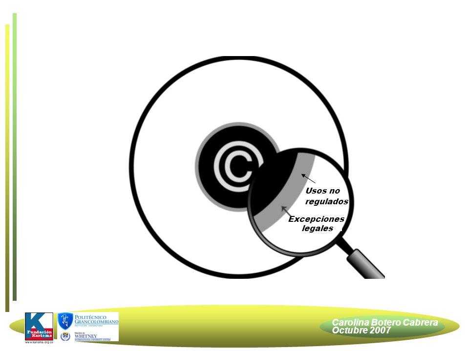 Carolina Botero Cabrera Octubre 2007 Excepciones legales Usos no regulados