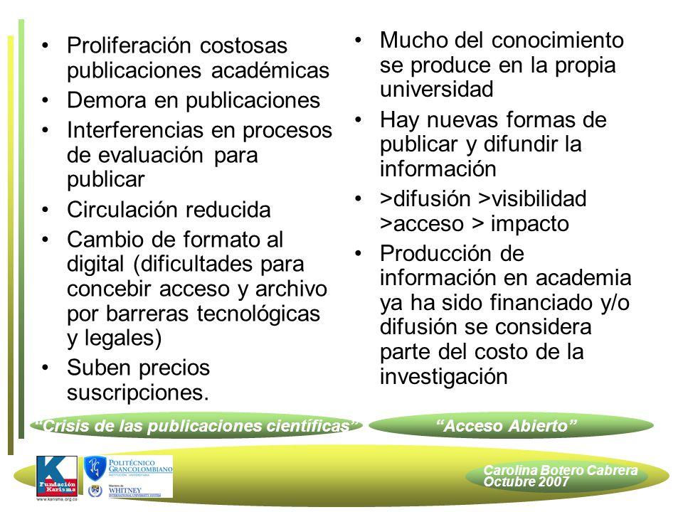 Carolina Botero Cabrera Octubre 2007 Estrategia Legal Investigación Apertura = difusión Docencia Apertura = difusión + modificación